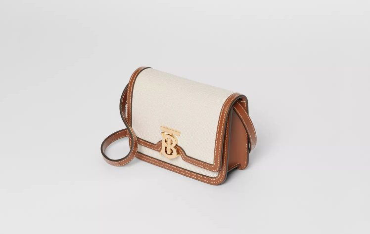 Burberry Mini Two-tone Canvas and Leather TB Bag NT$41,900