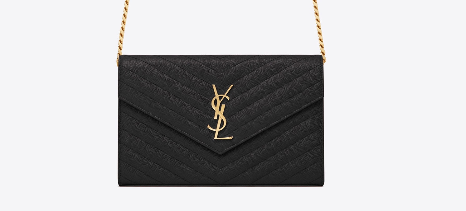 YSL MONOGRAM CHAIN WALLET IN GRAIN DE POUDRE EMBOSSED LEATHER 約NT$45,000